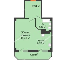 1 комнатная квартира 45,48 м², ЖК Гармония - планировка