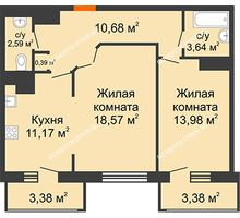 2 комнатная квартира 67,73 м² в ЖК Покровский, дом № 1 - планировка