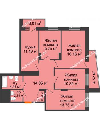 4 комнатная квартира 86,71 м² - Жилой дом Звездный