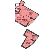 4 комнатная квартира 116,57 м², ЖК Юбилейный - планировка