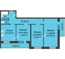 3 комнатная квартира 91,58 м², ЖК Дом на Троицкой - планировка