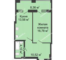 1 комнатная квартира 53,32 м² в ЖК Тихий Дон, дом № 2 - планировка