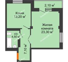 1 комнатная квартира 50,9 м², ЖК GEO (ГЕО) - планировка