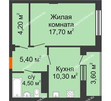 1 комнатная квартира 44 м² в ЖК Облака, дом № 2 - планировка