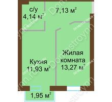 1 комнатная квартира 37,06 м² в ЖК Каменки, дом №14