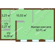1 комнатная квартира 53,6 м² в ЖК Дом с террасами, дом № 1