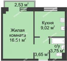 1 комнатная квартира 31,78 м² в ЖК Тридесятое, дом № 19 - планировка