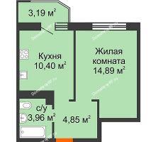 1 комнатная квартира 35,7 м² в ЖК Губернский, дом Литер 29 - планировка