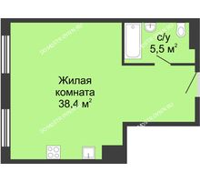 Студия 43,9 м² в ЖК Сердце Нижнего, дом № 35 - планировка
