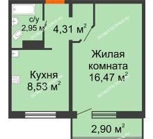 1 комнатная квартира 33,13 м² в ЖК Торпедо, дом № 19 - планировка