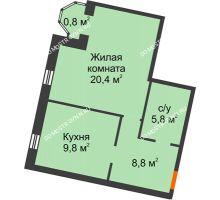 1 комнатная квартира 45,6 м², Жилой дом: ул. Варварская - планировка