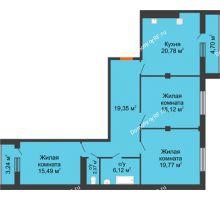 3 комнатная квартира 106,7 м² в ЖК 120 квартал, дом 2 очередь - планировка