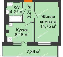 1 комнатная квартира 32,71 м² - ЖК Семейный