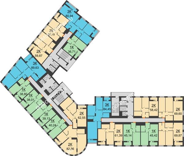 Планировка 4 этажа в доме № 1 в ЖК Дом на Набережной