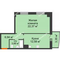 1 комнатная квартира 49,12 м² в ЖК Нива, дом №37 - планировка