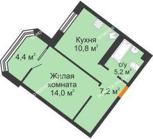 1 комнатная квартира 41,6 м² - ЖК Симфония Нижнего
