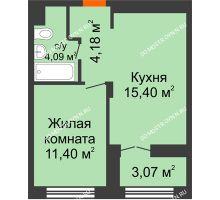 1 комнатная квартира 36,61 м², ЖК КМ Молодежный, 76 - планировка