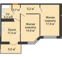 2 комнатная квартира 58,7 м², Жилой дом по ул.Минской 43/3 - планировка