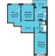 3 комнатная квартира 77,3 м² в ЖК Лазурный, дом 30 позиция - планировка