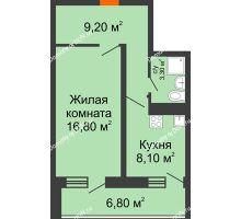 1 комнатная квартира 40,8 м² в ЖК Звезда Столицы, дом Литер 5 - планировка