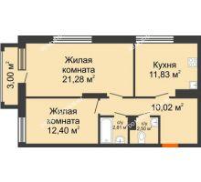 2 комнатная квартира 61,74 м² в ЖК Маленькая страна, дом № 4 - планировка