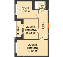 2 комнатная квартира 62,4 м², ЖД Весна - планировка