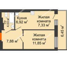 2 комнатная квартира 44,46 м² в ЖК Днепровская Роща, дом № 2 - планировка