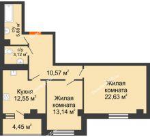 2 комнатная квартира 72,34 м², ЖК Площадь Ленина - планировка