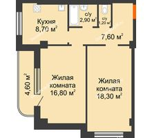 2 комнатная квартира 60,1 м² в ЖК Парк Островского 2, дом № 1 - планировка