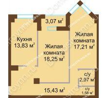 2 комнатная квартира 69,9 м² - ЖК Грани